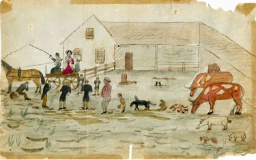 "A cartoon from the Katchewanooka Herald Kate Traill departing from ""the clearing"" (Lakefield) on a horse-drawn cart"