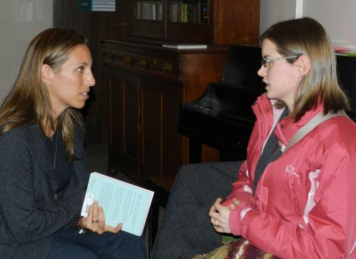 Student Grace Dempsey meets with author Sarah Selecky at Writers Reading
