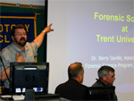 Forensics Professor Barry Saville delivers a presentation to members of  the Peterborough Rotary Club.