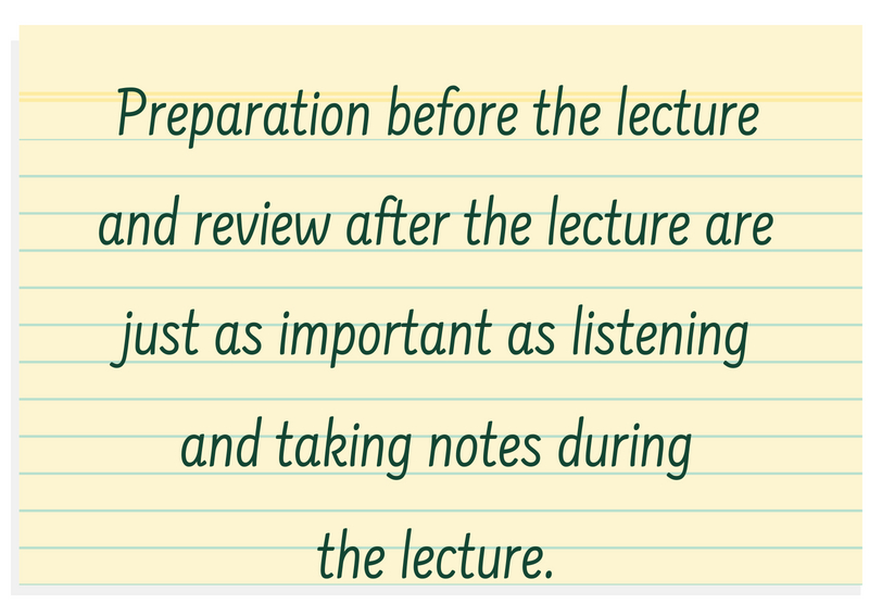 "A post it note that says: ""Preparation before the lecture and review after the lecture are just as important as listening and taking notes during lecture."""