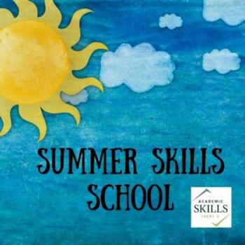 Sun and clouds on blue sky. Summer Skills School.