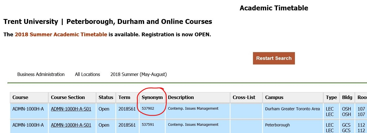 screen shot of the Academic Timetable highlighting the Synonyms column