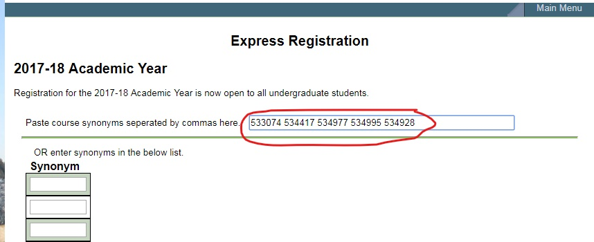 screenshot of Express registration after pasting the five synonyms into the space provided