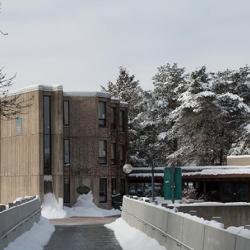 Bridge to Lady Eaton College in the winter.