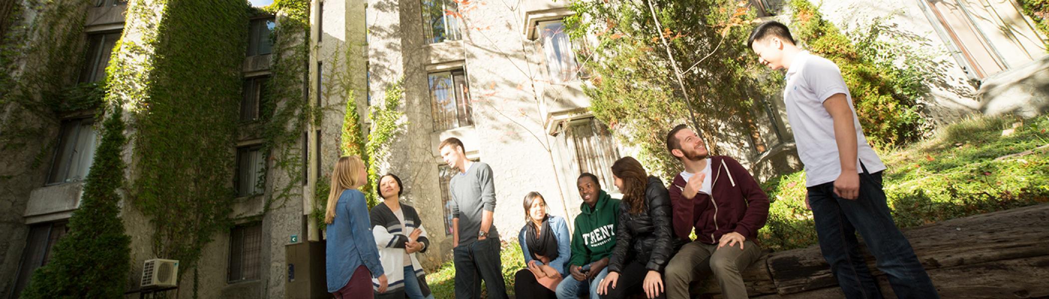 Students chatting outside Champlain quad