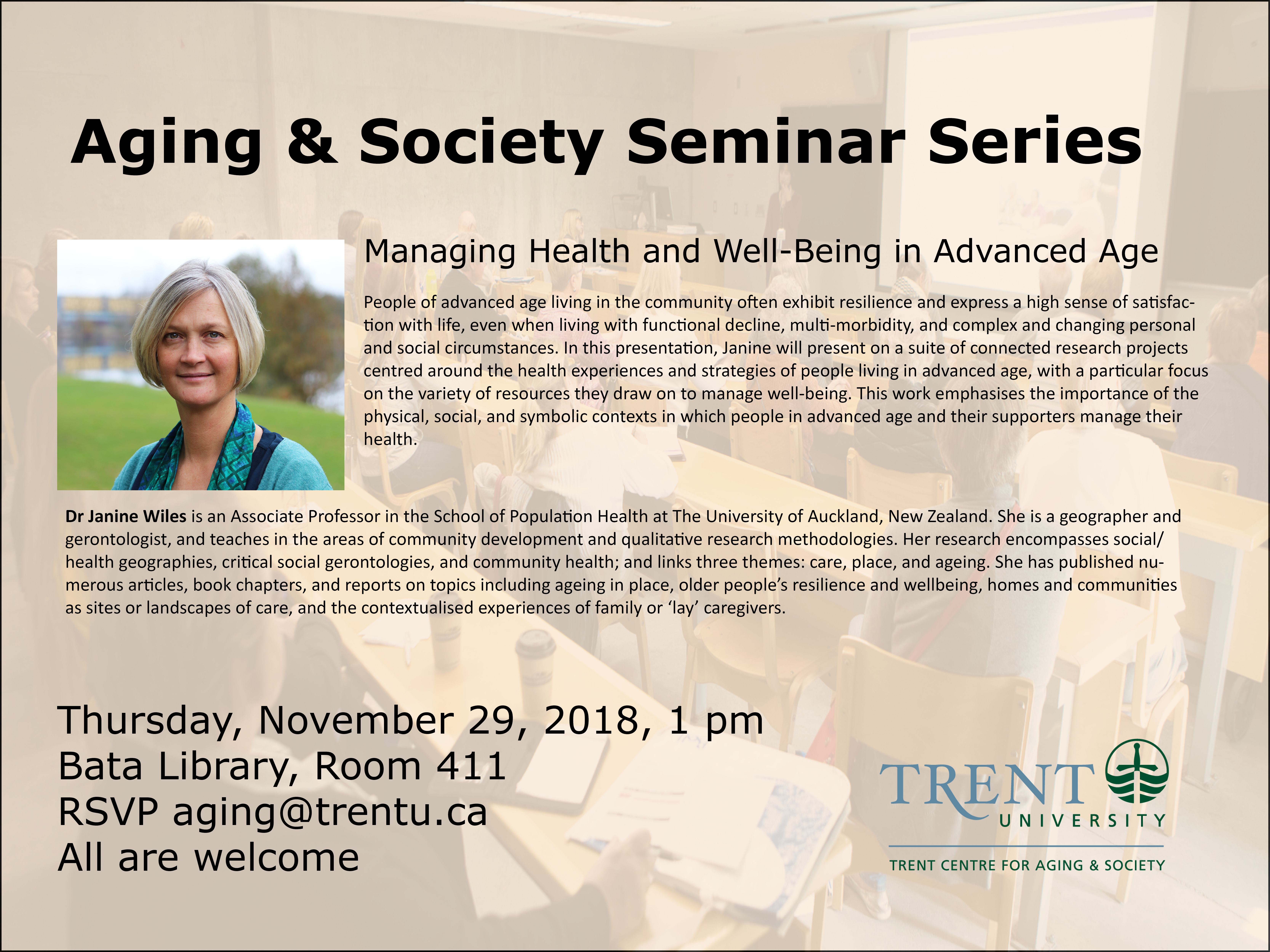 Poster of the Aging & Society Seminar Series