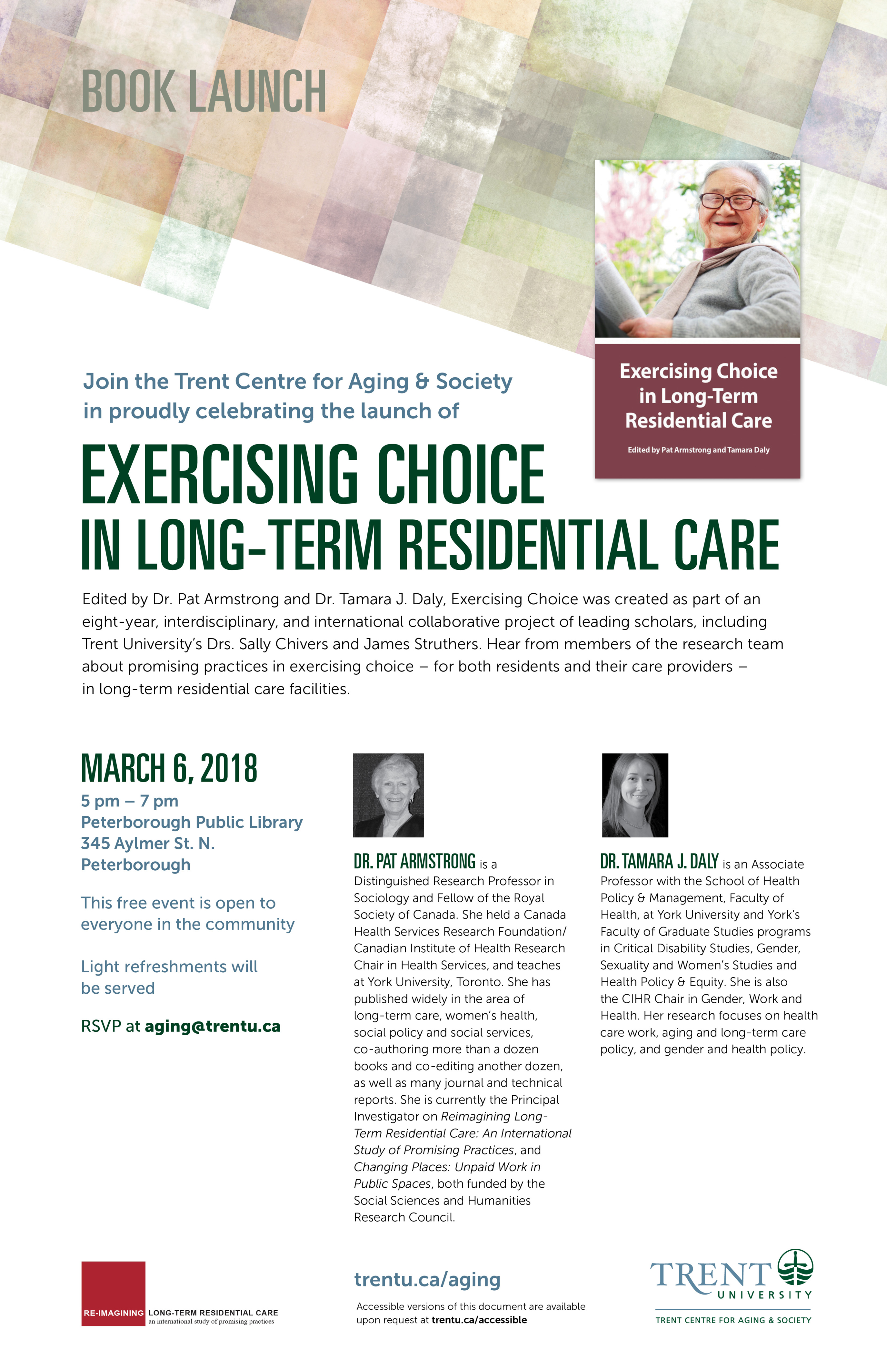 "Poster of the ""Exercising Choice in Long-Term Residential Care"" book launch"