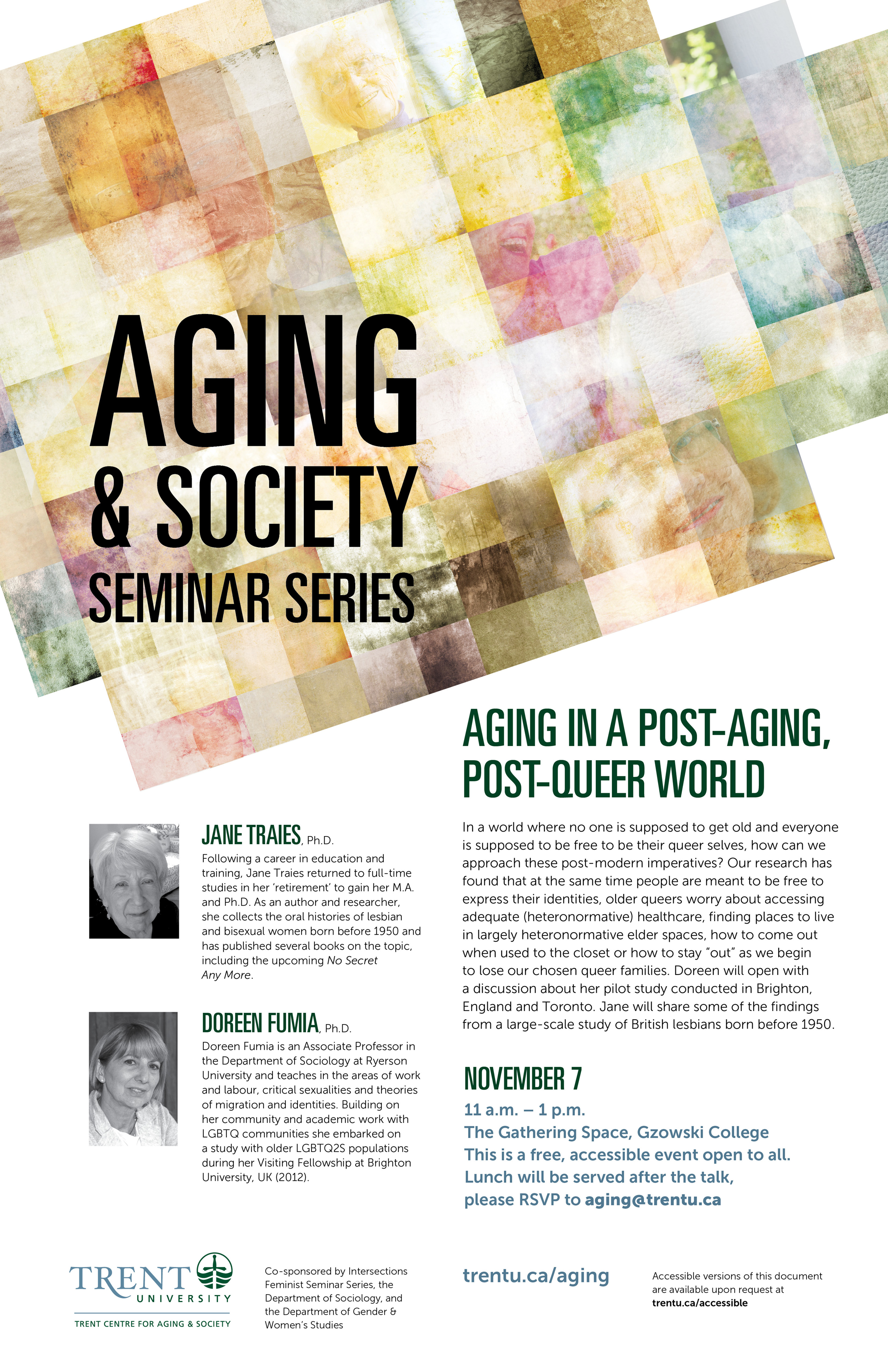 "Poster of the ""Aging in a Post-aging, Post-Queer World"" seminar"