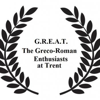 text: Greco-Roman Enthusiasts at Trent encircled by laurel leaves