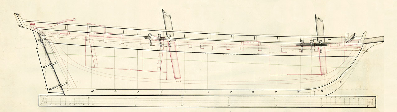 Schematic of the HMS Tecumseth, 1815