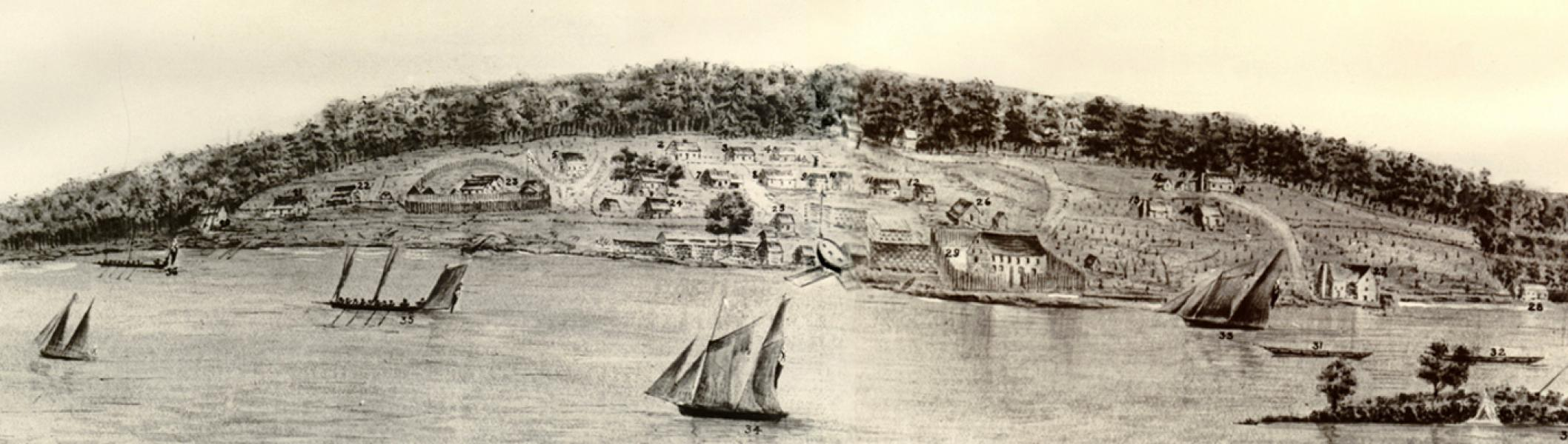 Engraving of Penetanguishine Military Base and ships sailing in harbour, 1818