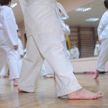 Young children learning Judo