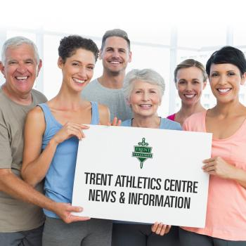 Group of happy adults holding a sign that states: Trent Athletics Centre News & Information