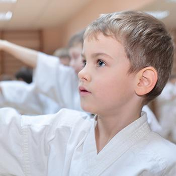 Young boy in Ninja Kids class