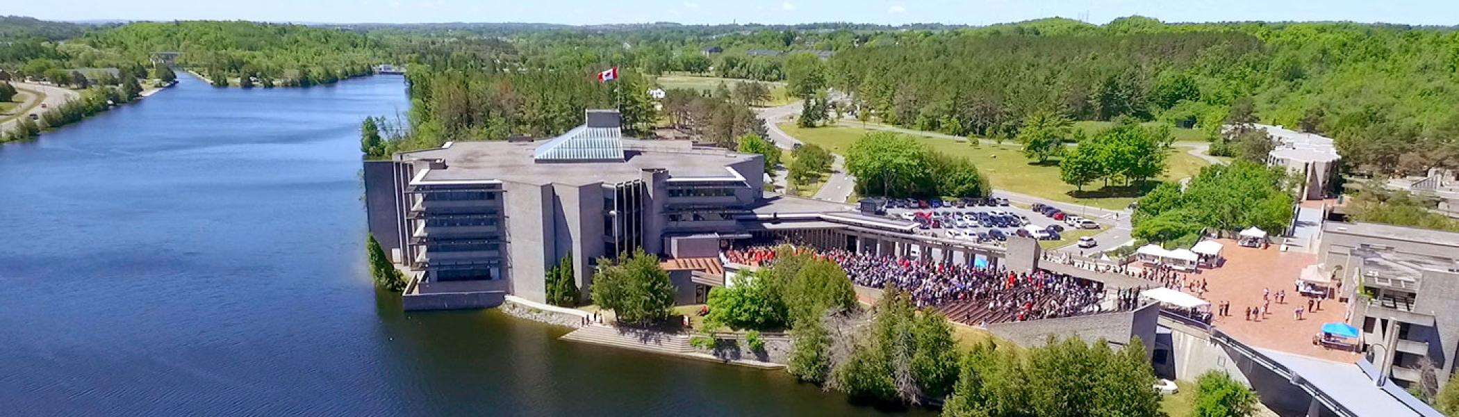 Aerial view of the Bata library at the Symons campus on a sunny summer's morning