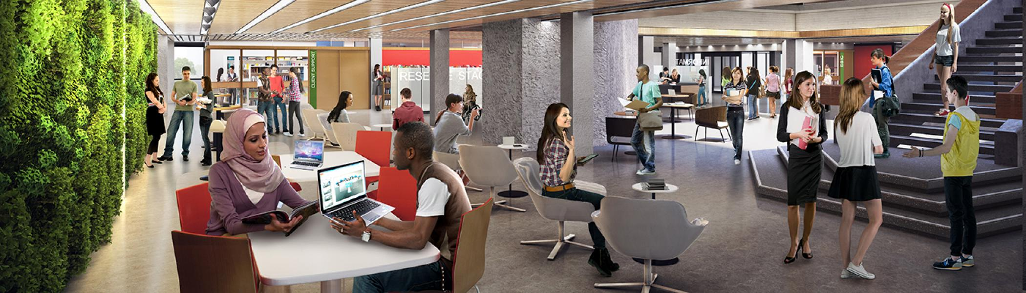 Digital mockup of the first floor of the Bata library transformation with students walking around