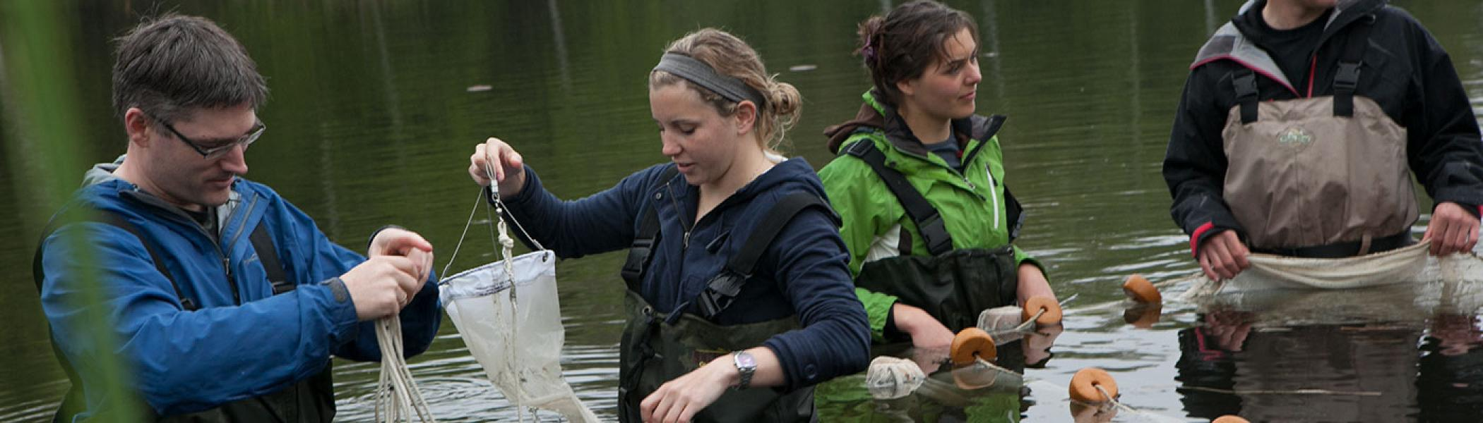 Bioenvironmental Monitoring & Assessment students and professors in the Otonabee River