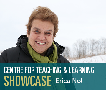 "Erica Nol smiling outside in winter with text overlaying that says: ""Center for Teaching and Learning Showcase Erica Nol"""