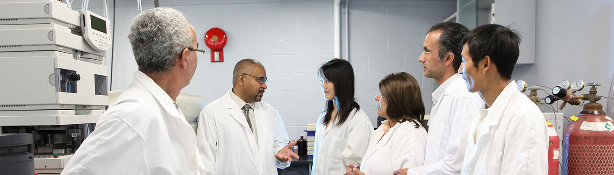 The Biomaterials Research team discussing their work in the lab.