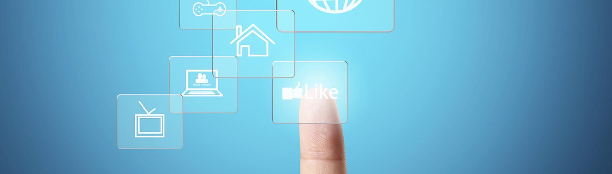 A finger surrounded by white social media illustrations floating around it