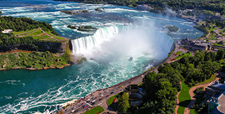 Aerial view of NIagara Falls in the summer sun