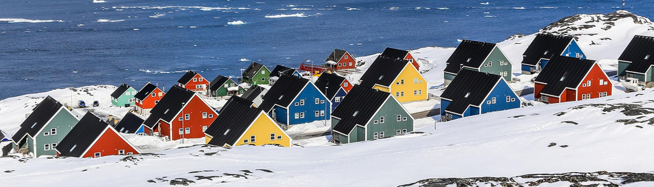 Brightly coloured house in the tundra