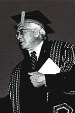 black and white image of man in regalia