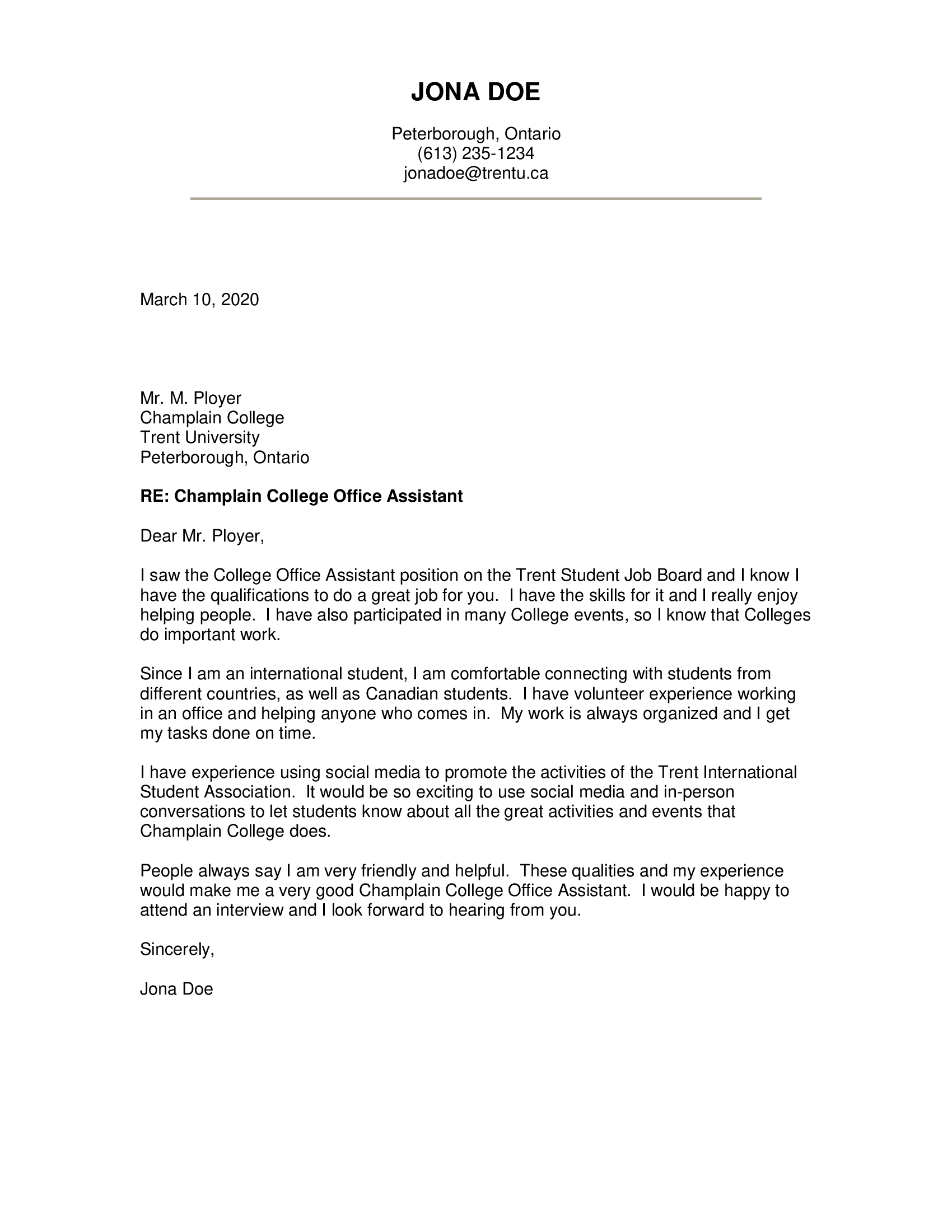 Simple Cover Letter For Administrative Assistant from www.trentu.ca
