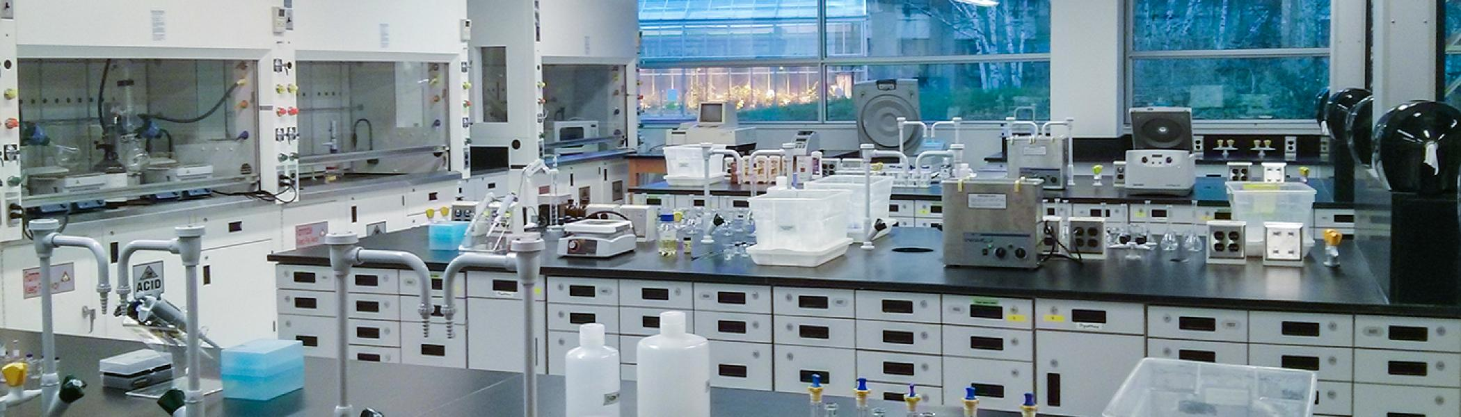 Chemistry laboratory set up with various pieces of equipment on black lab benches with grey cabinets underneath, fumehoods along the side wall