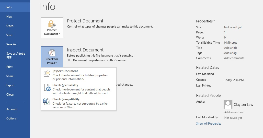 Screen shot of how to access the Accessibility Checker in Microsoft Word