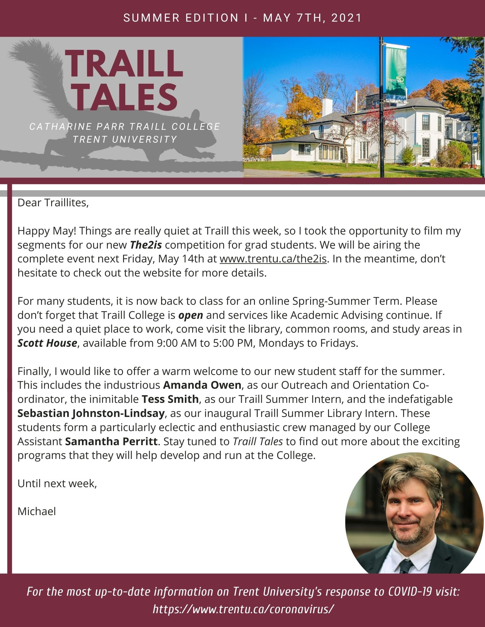 Traill Tales Newsletter: check out the link to the accessible version at the top of the page.