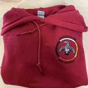 "red gzowski hoodie with loon logo. version1, reads ""Gzowski College, Trent University"""