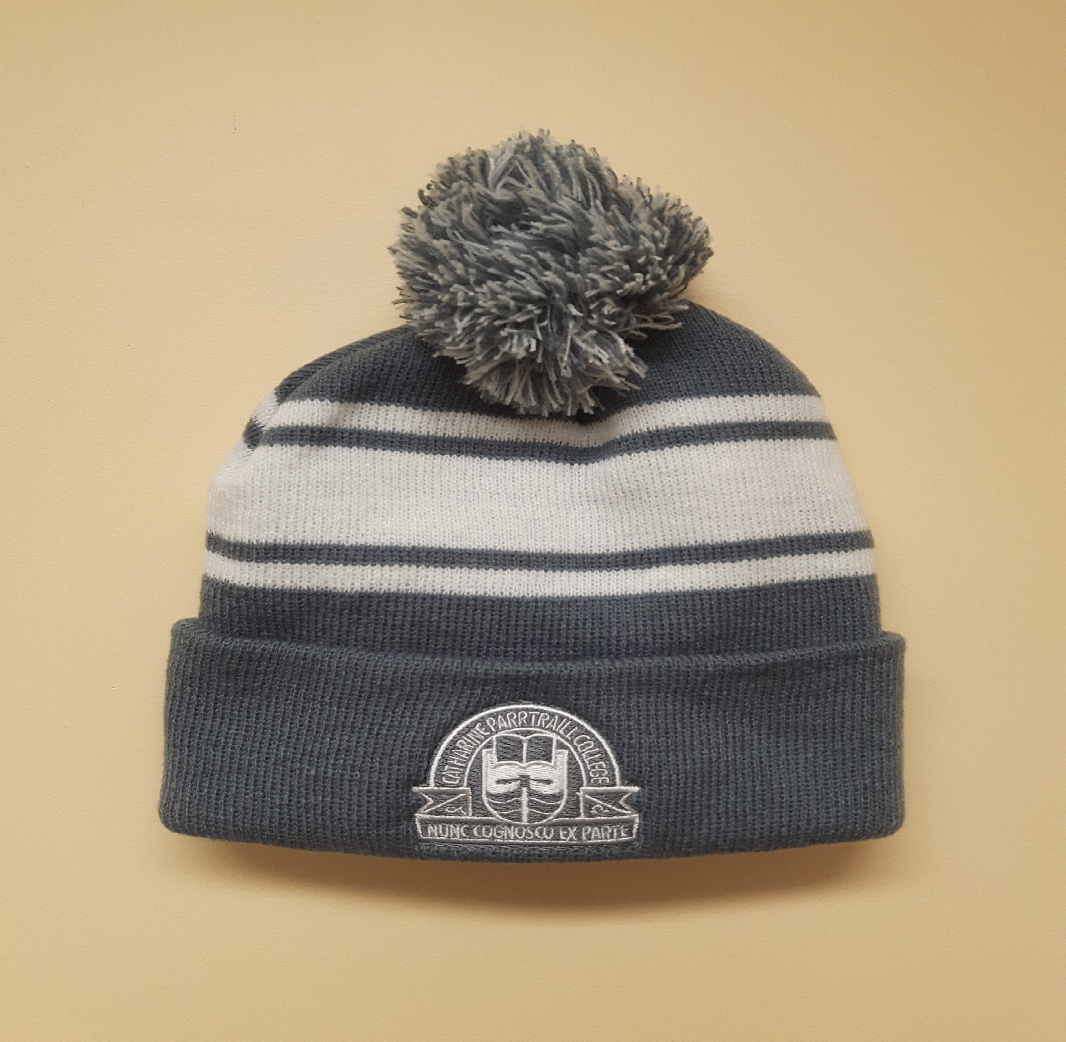 Grey and White Striped Traill Beanie