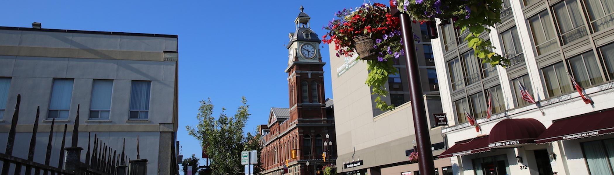 The town hall clock in downtown Peterborough