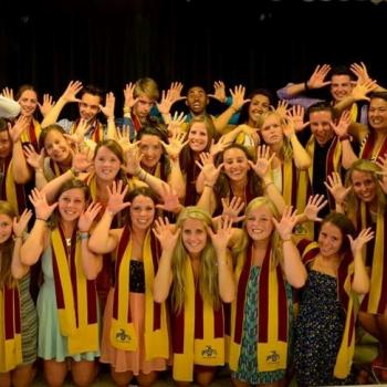 Scarf Ceremony: Students pretening to be the Gzowski Moose, BAMM