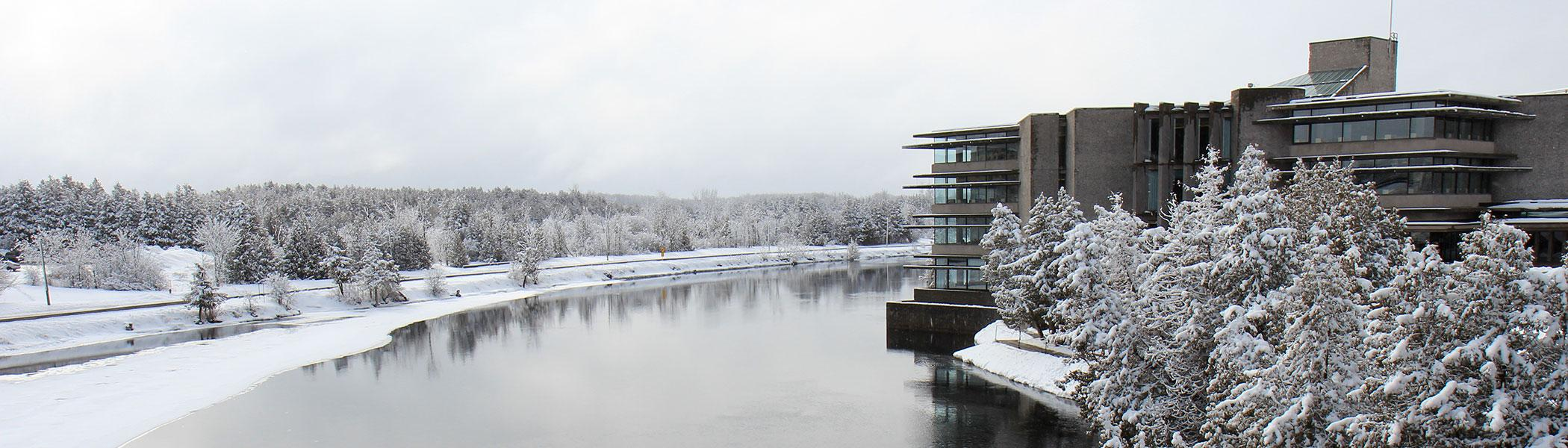 Bata Library from Faryon Bridge in a snowy day