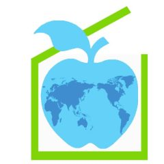 Teach logo Blue apple with map of the world inside a green box