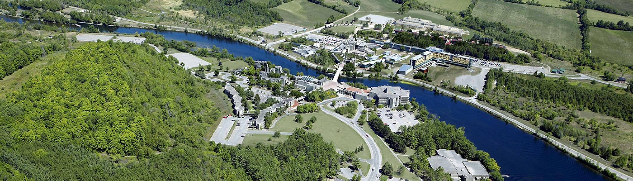 Aerial photo of Trent's Symons Campus and the surrounding land.