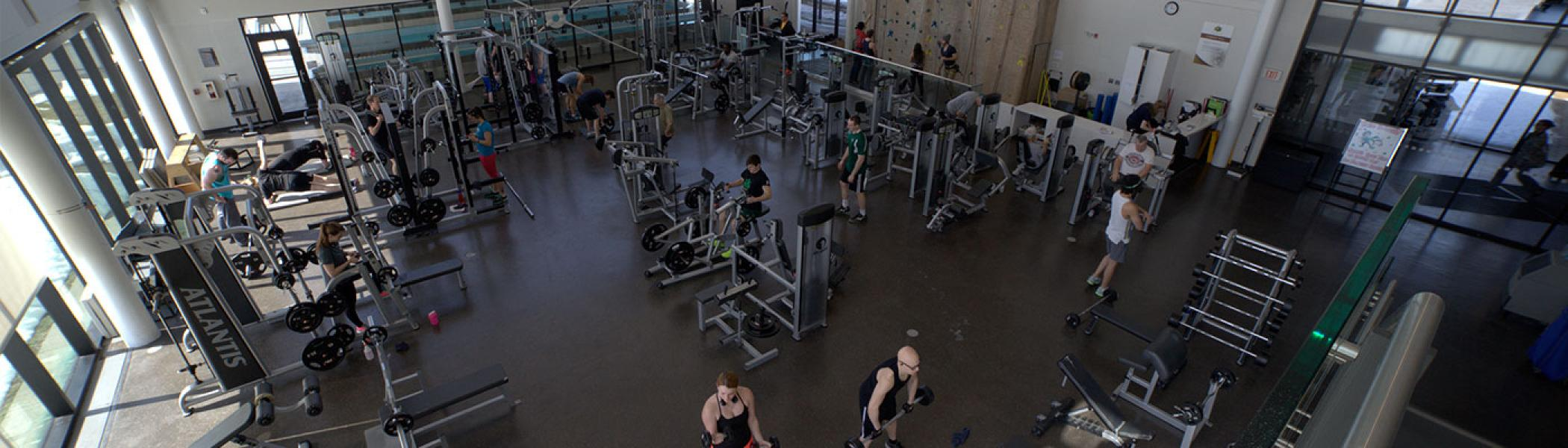 Gym-goers working using the equipment available at Trent's Athletic Centre.