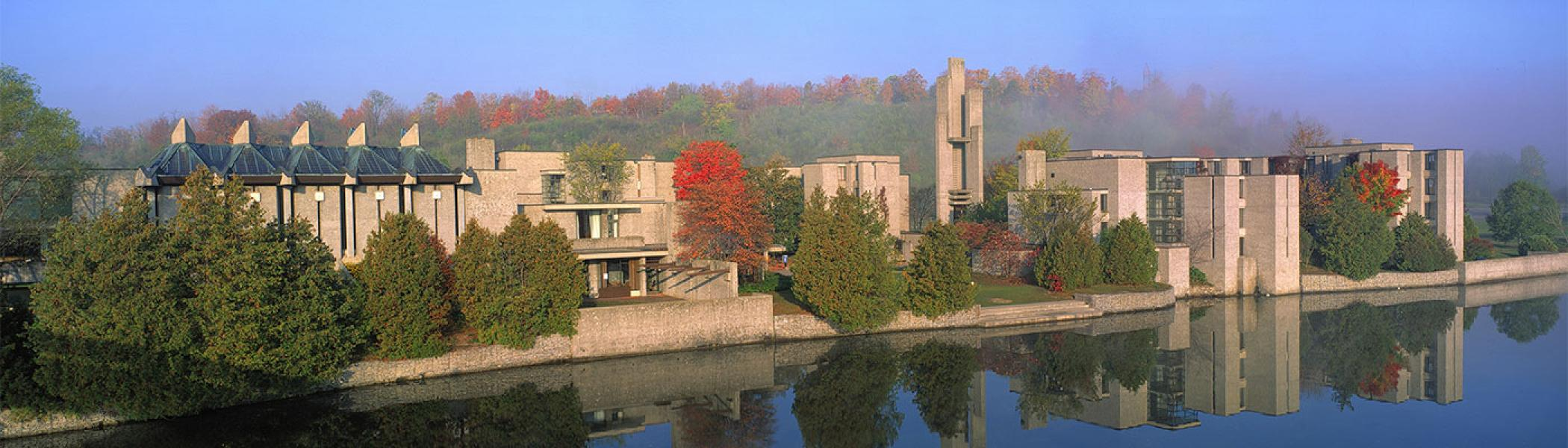 Shot of Trent's Champlain College from across the Otonabee River on a nice fall day.