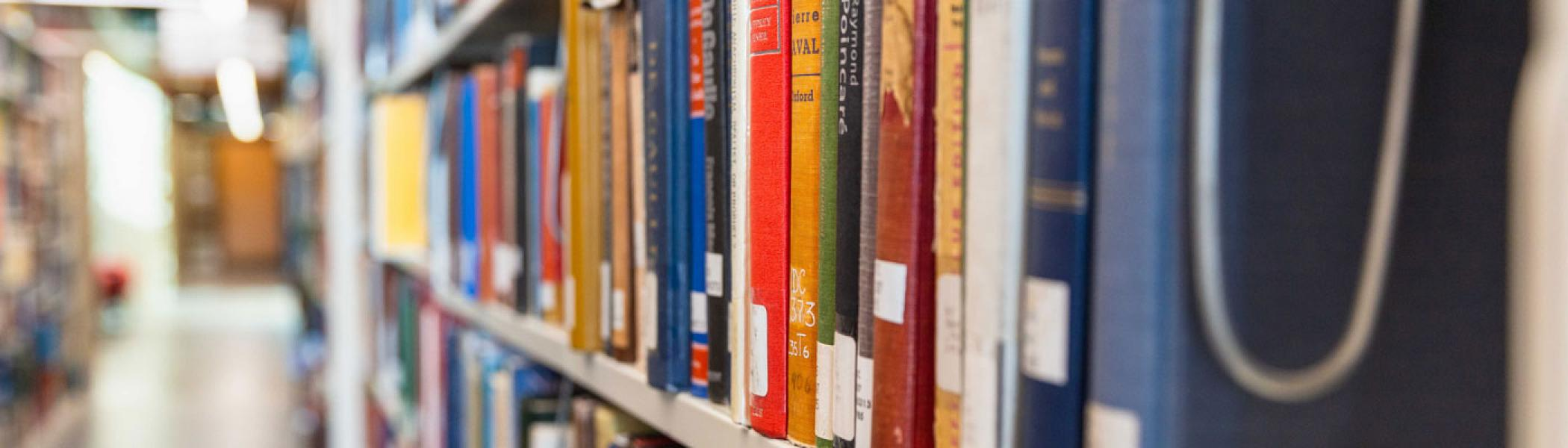 Books on the shelf in Bata library