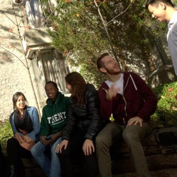 Students sitting at Trent Campus
