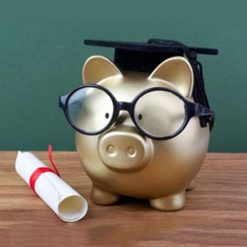 Piggy Bank with scroll and grad cap