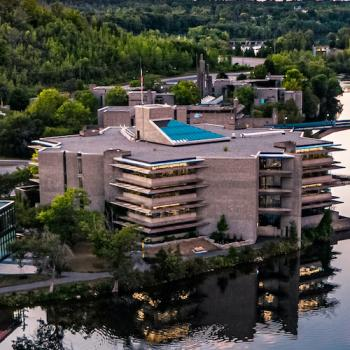 Aerial view of Trent's Bata library.