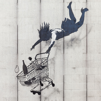 Banksy - Shop Til You Drop. Attribution: https://commons.wikimedia.org/wiki/File:Shop_Until_You_Drop_by_Banksy.JPG.