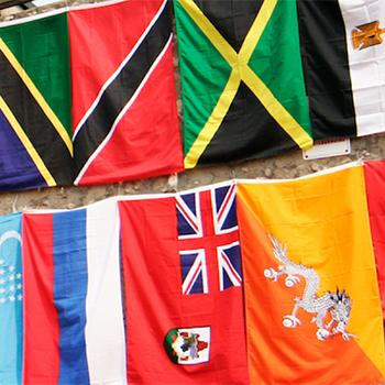 Flags from countries around the world on display at Trent