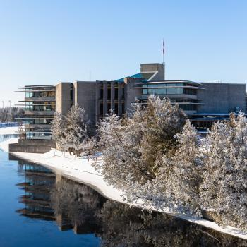 Bata Library view from the Faryon Bridge during the winter time.