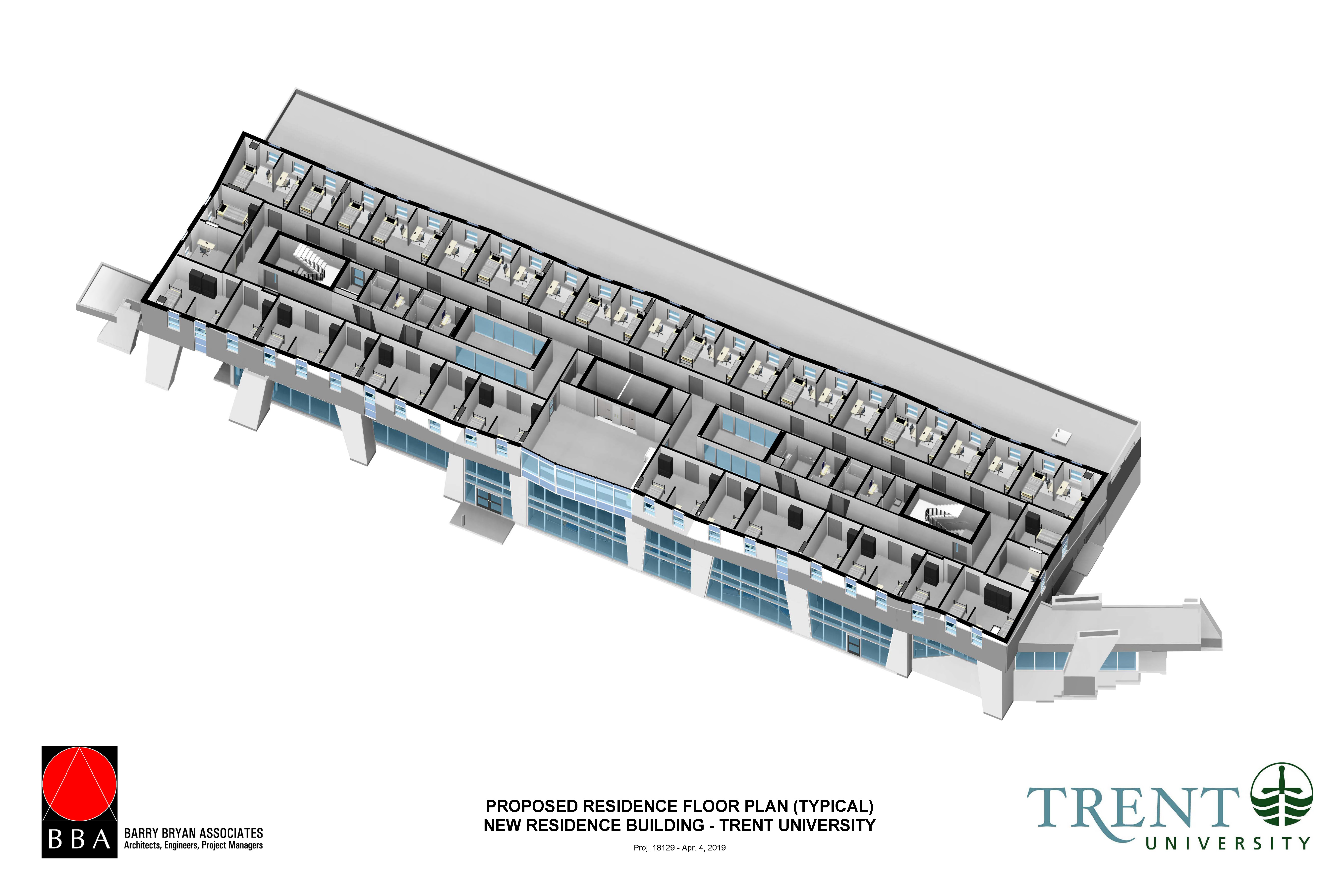 Proposed Residence Floor Plan (Typical), New Residence Building, Trent University Durham GTA