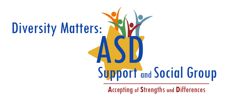 ASD logo with a large yellow star, with illustrated abstract human figures celebrating. The logo reads: Diversity Matters: ASD Support and Social Group, Accepting of Strengths and Differences