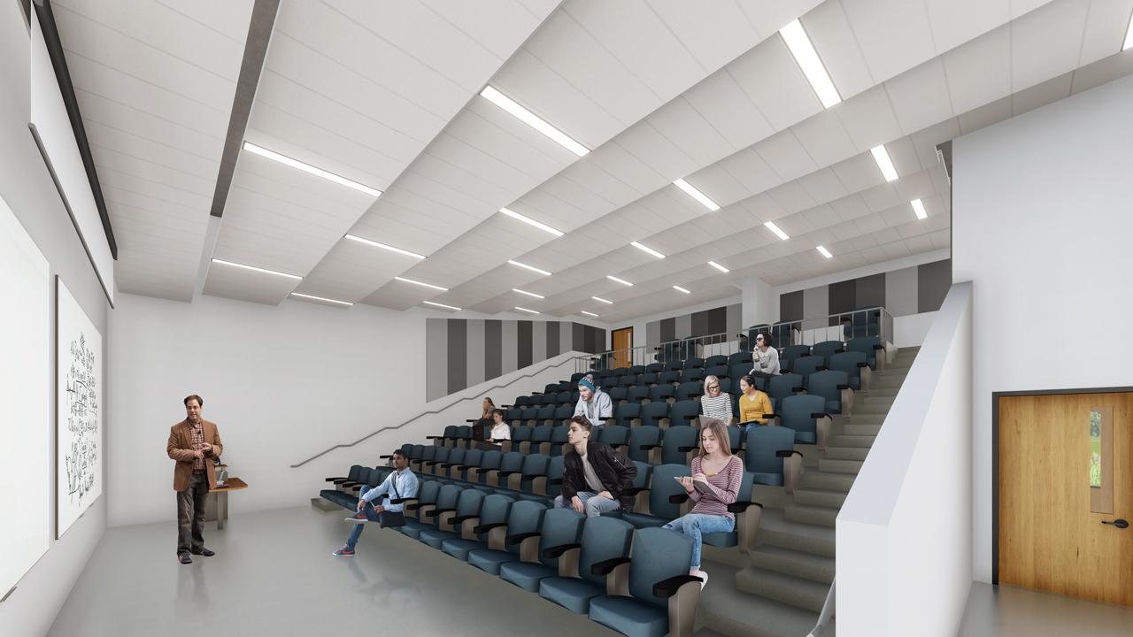 Architect rendering of the proposed lecture hall at Trent University Durham GTA expansion site.